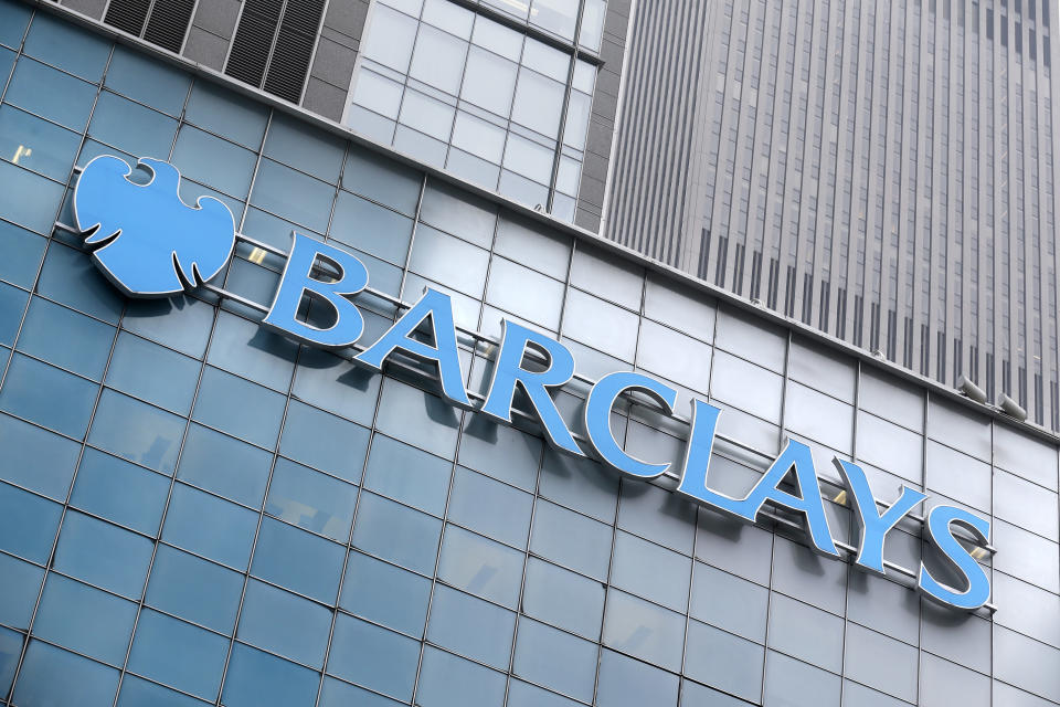 A Barclays sign is displayed on their offices in New York, Thursday, March 29, 2018. The British bank became the latest big bank to reach a multi-billion dollar settlement with U.S. authorities over its role in the subprime mortgage bubble and subsequent financial crisis. (AP Photo/Seth Wenig)