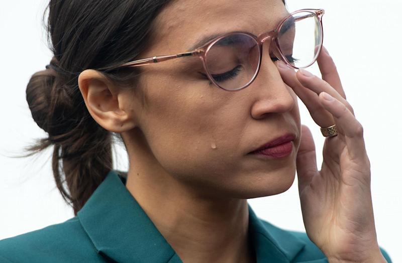 Alexandria Ocasio-Cortez's wipes away tears at protest to defund US border agency: 'They don't deserve a dime'