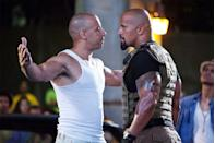 """<p>The feud between the two actors erupted during filming of """"The Fate of the Furious"""" in 2017, when The Rock took to social media to <a href=""""https://time.com/4444921/the-rock-furious-8-male-costars/"""" rel=""""nofollow noopener"""" target=""""_blank"""" data-ylk=""""slk:slam some unnamed co-stars"""" class=""""link rapid-noclick-resp"""">slam some unnamed co-stars</a>. """"Some conduct themselves as stand up men and true professionals, while others don't,"""" he wrote. """"When you watch this movie next April and it seems like I'm not acting in some of these scenes and my blood is legit boiling — you're right."""" Then, in <a href=""""https://www.instagram.com/p/BJTMZqIDCCA/?utm_source=ig_embed"""" rel=""""nofollow noopener"""" target=""""_blank"""" data-ylk=""""slk:another Instagram post"""" class=""""link rapid-noclick-resp"""">another Instagram post</a> celebrating the wrap of the film, The Rock thanked nearly everyone in the cast and crew .. but made no mention of Vin Diesel, the film's co-producer.</p>"""