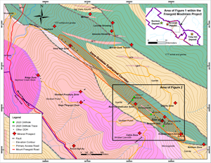 Plan Map of the 3.7 kilometre long Irene-Goldstar Epithermal Corridor (outlined in red hatch) located in the Mount Freegold Area between the Tinta Hill and Revenue Deposits.