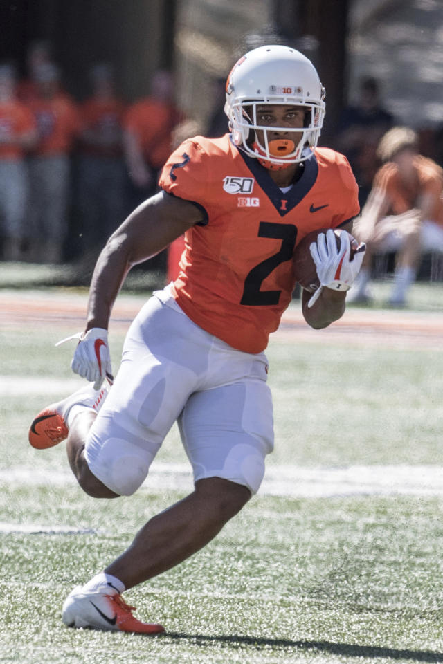 Illinois running back Reggie Corbin (2) in the first half of a NCAA college football game between Illinois and Eastern Michigan, Saturday, Sept.14, 2019, in Champaign, Ill. (AP Photo/Holly Hart)