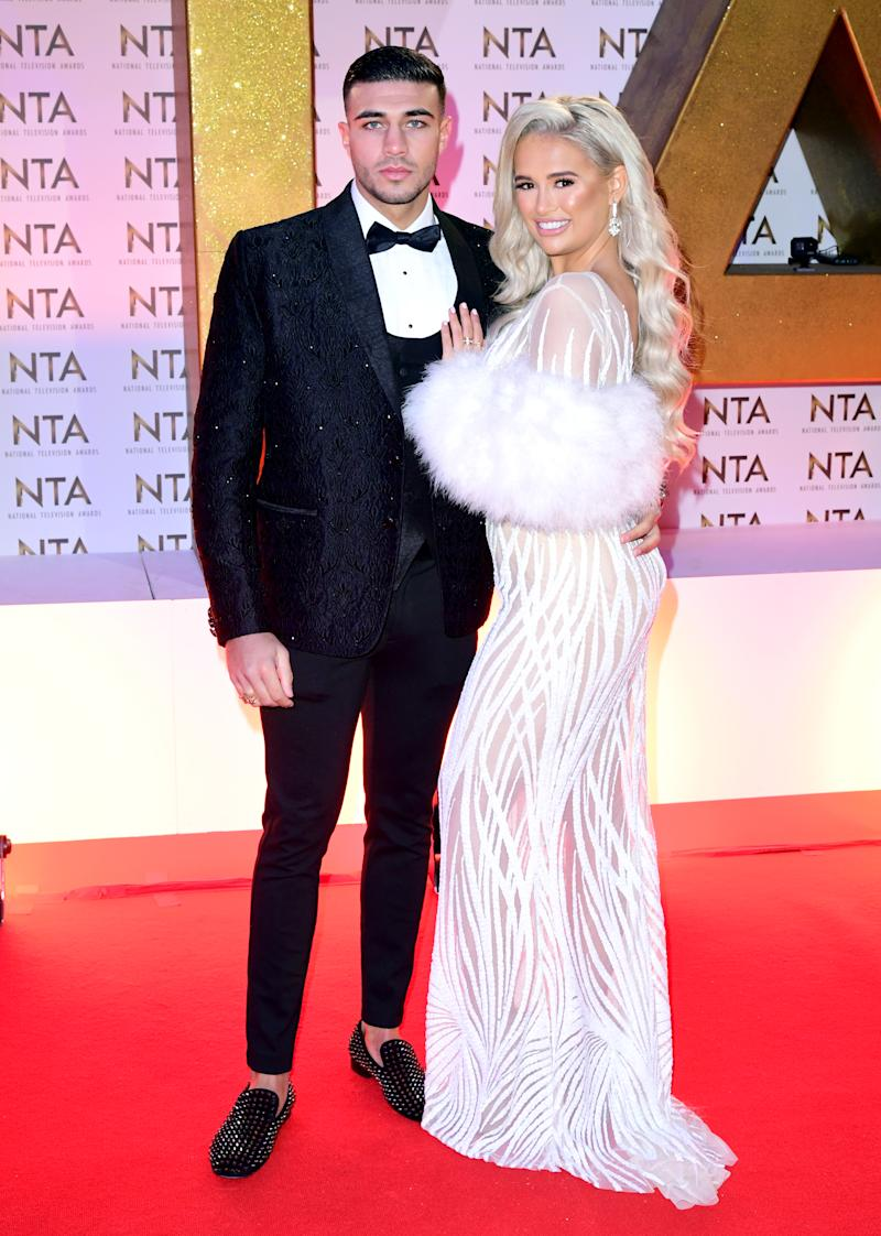 Tommy Fury and Molly-Mae Hague during the National Television Awards at London's O2 Arena.