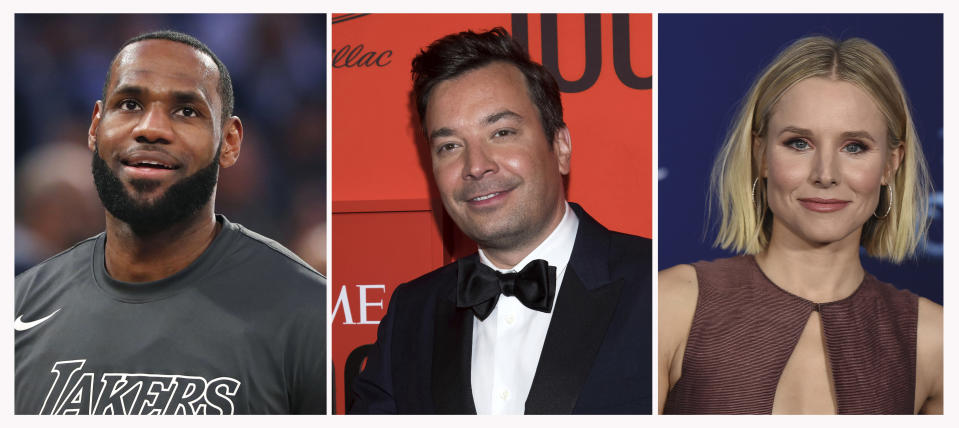 """This combination photo shows, from left, Los Angeles Lakers forward LeBron James before an NBA basketball game on Jan. 22, 2020, in New York, Jimmy Fallon at the Time 100 Gala on April 23, 2019, in New York and Kristen Bell at the world premiere of """"Frozen 2"""" on Nov. 7, 2019, in Los Angeles. The International Academy of Digital Arts and Sciences announced that James, Fallon and Bell are among the 2020 Webby Award winners for internet excellence. (AP Photo)"""