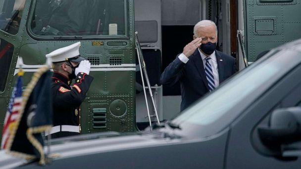 PHOTO: President Joe Biden salutes as he arrives on Marine One at Delaware Air National Guard Base in New Castle, Del., March 16, 2021, en route to Wilmington, Del.  (Carolyn Kaster/AP)