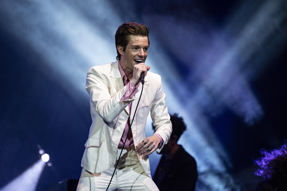 Brandon Flowers of The Killers seen at KAABOO Texas at AT&T Stadium on Friday, May 10, 2019, in Arlington, Texas. (Photo by Amy Harris/Invision/AP)