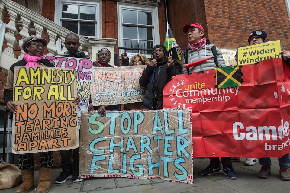 LONDON, ENGLAND - FEBRUARY 3: Protestors from the Movement For Justice group demonstrate outside the Jamaican High Commission in London to demand that Jamaica stops cooperating with deportation flights on February 3, 2020 in London, England. (Photo by Guy Smallman/Getty Images)