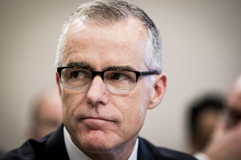 Former FBI deputy director Andrew McCabe, seen last June, was abruptly fired on Friday. Sources have since said that he kept contemporaneous memos that detailed his conversations with Trump and former FBI director James Comey. (Pete Marovich via Getty Images)
