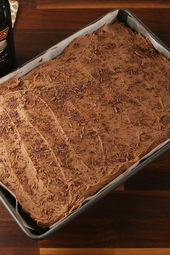 "<p>Chocolate on chocolate.</p><p>Get the recipe from <a href=""https://www.delish.com/cooking/recipe-ideas/recipes/a56771/baileys-poke-cake-recipe/"" rel=""nofollow noopener"" target=""_blank"" data-ylk=""slk:Delish"" class=""link rapid-noclick-resp"">Delish</a>.</p>"