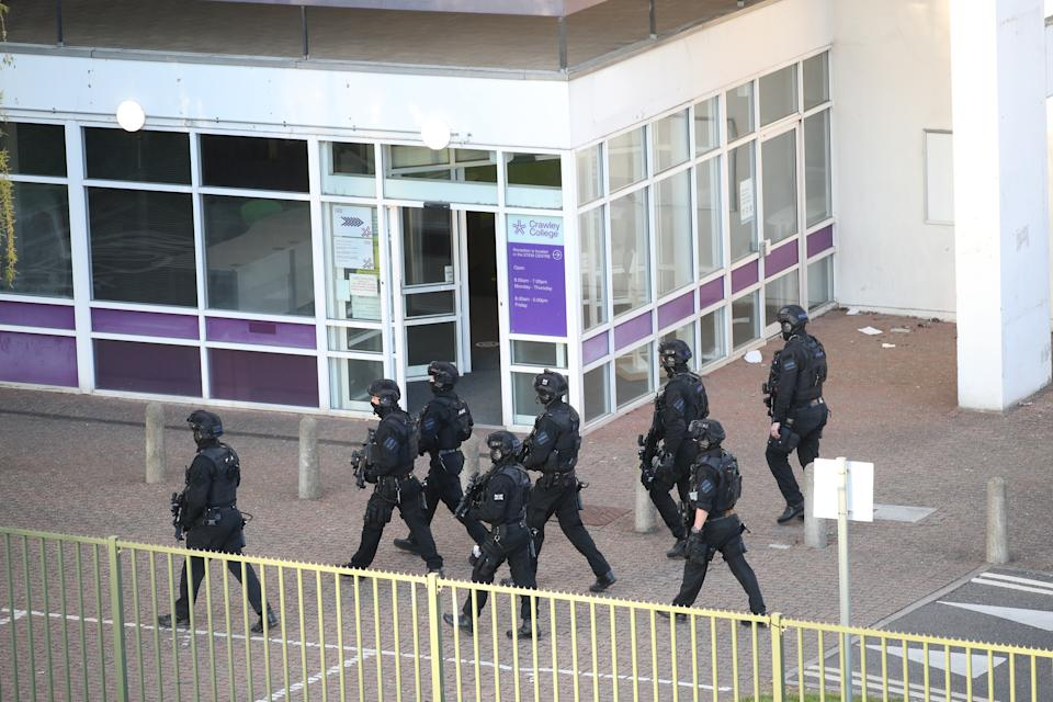 Armed police at Crawley College, Crawley, West Sussex, following
