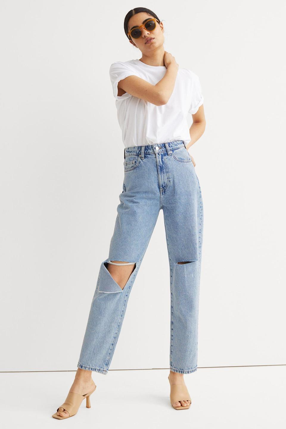 <p>When you think of the perfect summer jeans, they look something like these <span>H&amp;M Mom High Ankle Jeans</span> ($20). They're high-waisted, with rips that look chic, not sloppy.</p>