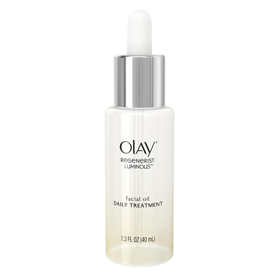 "<p>The Olay Regenerist Luminous Facial Oil is a classic. Made with nine different types of oils including <a href=""https://www.allure.com/story/beauty-uses-for-coconut-oil?mbid=synd_yahoo_rss"" rel=""nofollow noopener"" target=""_blank"" data-ylk=""slk:coconut"" class=""link rapid-noclick-resp"">coconut</a> and jojoba, your skin will feel instantly moisturized and look as radiant as ever with just a few drops.</p> <p><strong>$25</strong> (<a href=""https://shop-links.co/1712895628581751741"" rel=""nofollow noopener"" target=""_blank"" data-ylk=""slk:Shop Now"" class=""link rapid-noclick-resp"">Shop Now</a>)</p>"