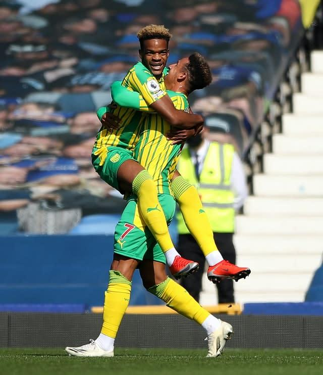 Grady Diangana, left, scored for West Brom