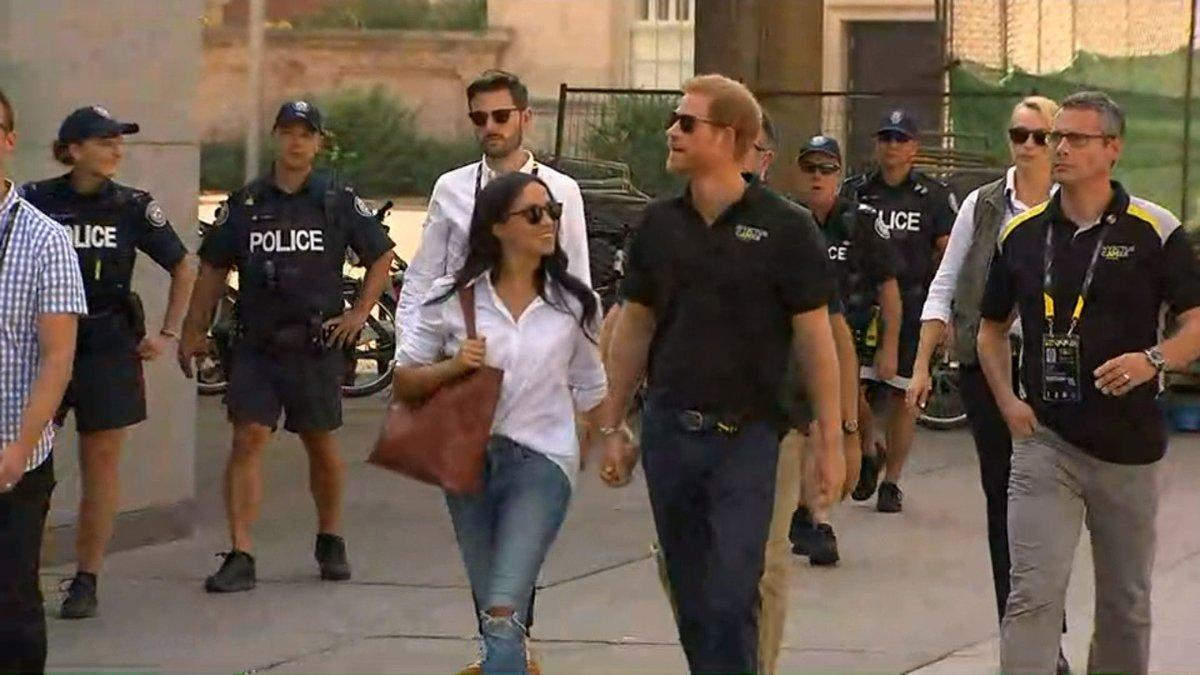"""<p><strong>When: Sept. 25, 2017<br /></strong>Meghan Markle and Prince Harry made their first official appearance together at the Invictus Games opening ceremony in Toronto on Saturday, but the world was more captivated with what the 36-year-old star was wearing.– the shirt she wore, specifically, might have a special meaning… (<em>Photo: <a rel=""""nofollow"""" href=""""https://twitter.com/CP24/status/912376456004677632"""">CP24/Twitter</a>)</em> </p>"""