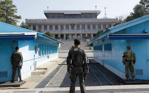 The demilitarised zone in the border village of Panmunjom - Credit: Lee Jin-man/AP