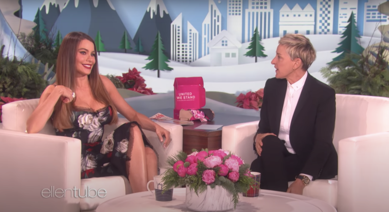 Sofia Vergara is defending her relationship with Ellen DeGeneres (pictured together in 2017) after Twitter videos showed the talk show host mocking her accent. (Screenshot: YouTube/The Ellen DeGeneres Show)