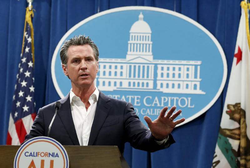 Gov. Gavin Newsom announced that California will spend $20 million on a public awareness campaign about the dangers of vaping nicotine and cannabis products amid a rise in vaping-related illnesses, during a news conference in Sacramento, Calif., Monday, Sept. 16, 2019. (AP Photo/Rich Pedroncelli)