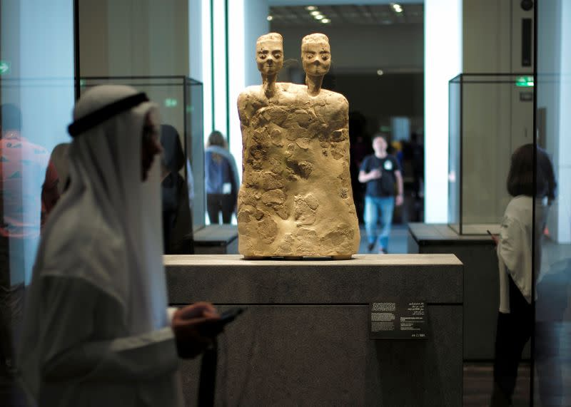 Visitors are seen at The Louvre Abu Dhabi Museum in Abu Dhabi
