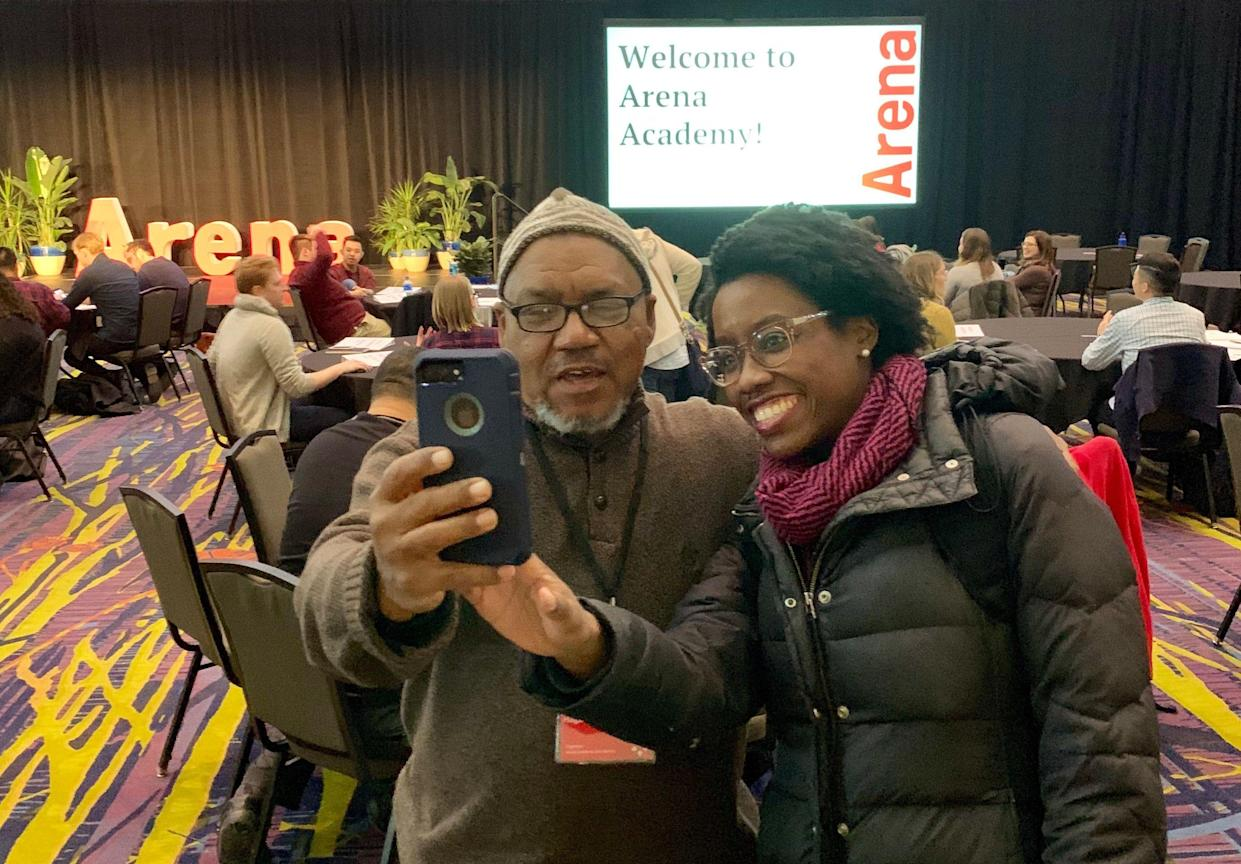 Lauren Underwood takes a selfie with an Arena Academy attendee. (Photo: Lee Pedinoff)