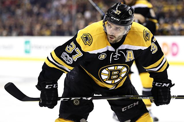 "<a class=""link rapid-noclick-resp"" href=""/nhl/players/3383/"" data-ylk=""slk:Patrice Bergeron"">Patrice Bergeron</a> is one of the most trusted faceoff men in the NHL. (Photo by Maddie Meyer/Getty Images)"