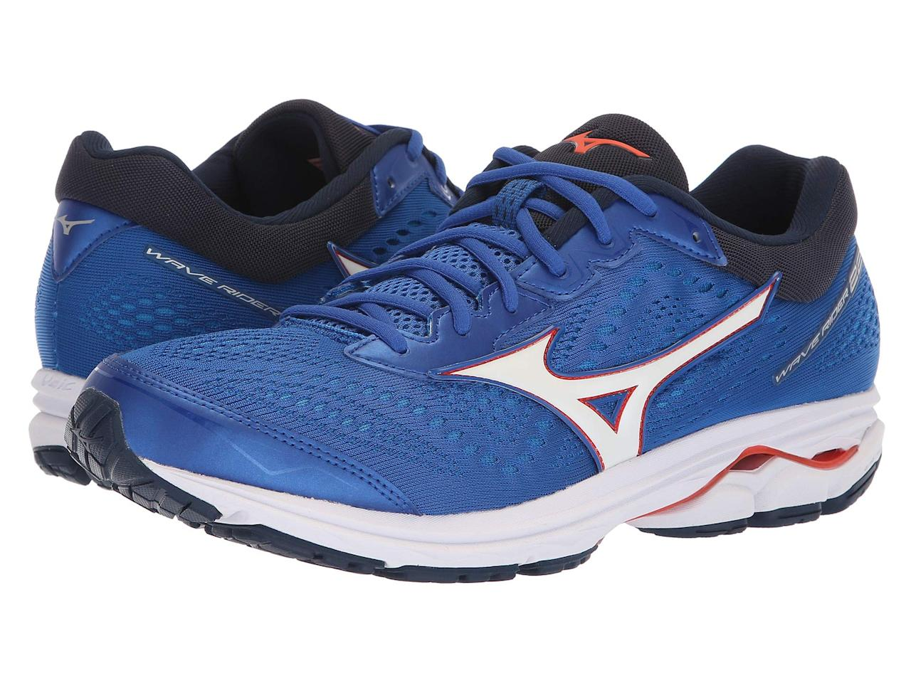 "<p><strong>Mizuno</strong></p><p>zappos.com</p><p><a href=""https://go.redirectingat.com?id=74968X1596630&url=https%3A%2F%2Fwww.zappos.com%2Fp%2Fmizuno-wave-rider-22-monument-black%2Fproduct%2F9043213&sref=http%3A%2F%2Fwww.menshealth.com%2Ftechnology-gear%2Fg28473035%2Fzappos-birthday-sale-july-2019%2F"" target=""_blank"">BUY IT HERE</a></p><p><del>$119.95</del><strong><br>$86.39 with code ""BDAY20"" </strong></p><p>Mizuno's Wave Rider 22 running shoes might feel firm at first, but they're lightweight enough to make sprints a breeze.</p>"