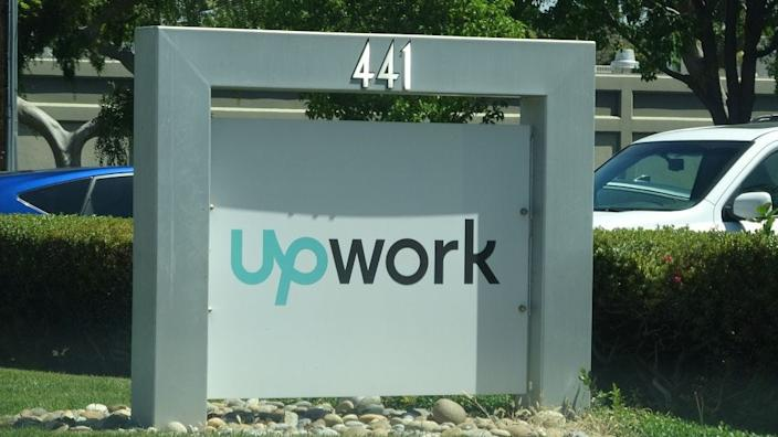 upwork Close-up of sign at entrance to Silicon Valley headquarters of outsourcing and freelancing company Upwork, Mountain View, California, May 3, 2019. (Photo by Smith Collection/Gado/Getty Images)