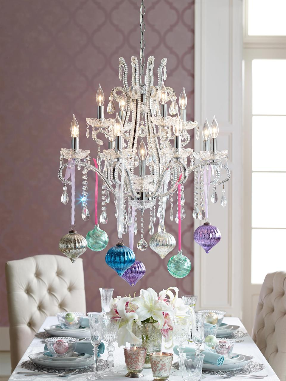 """<p>Lean into eye-catching candy colors this New Year, employing <a rel=""""nofollow noopener"""" href=""""http://www.elledecor.com/life-culture/travel/a12013170/travel-destinations-for-pastel-lovers/"""" target=""""_blank"""" data-ylk=""""slk:pastel"""" class=""""link rapid-noclick-resp"""">pastel</a> purples and robin's egg blue to liven up your festivities. Paired with pretty blush and taupe neutrals, this unexpected color scheme will kick your year off right. </p>"""