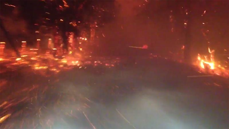 WA firefighters drive through smoke and fire as they battle hell on Earth