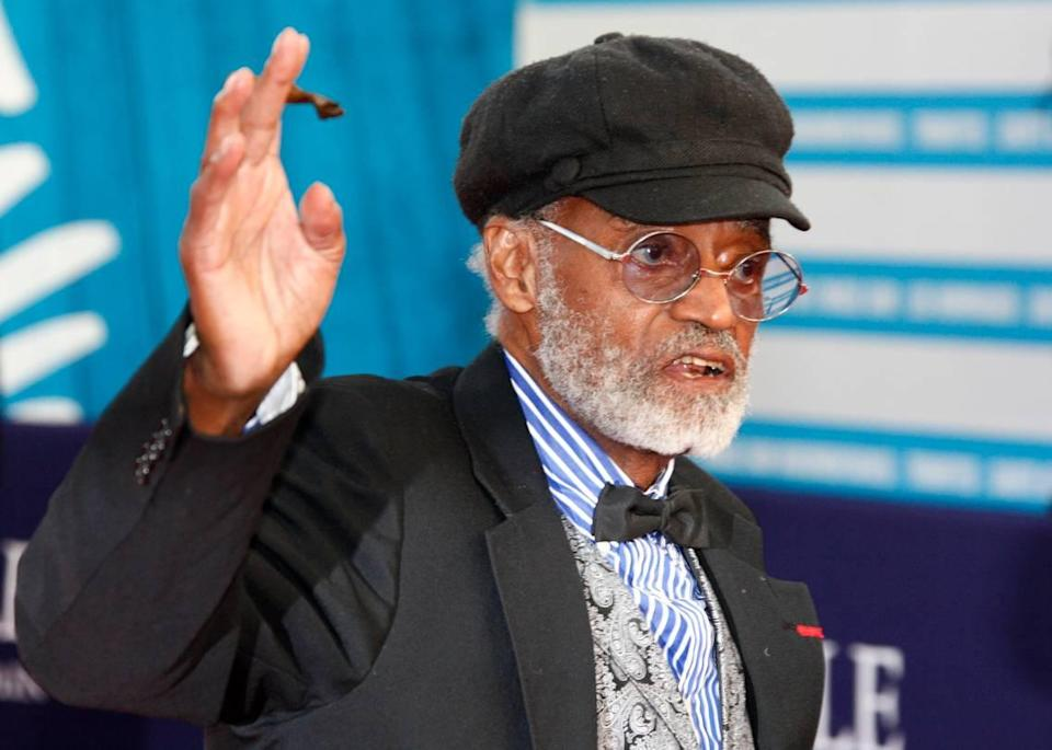"""U.S director, actor, screenwriter Melvin Van Peebles is seen during a tribute for his career at the 38th American Film Festival in Deauville, Normandy, France, Wednesday Sept. 5, 2012. Van Peebles, a Broadway playwright, musician and movie director whose work ushered in the """"blaxploitation"""" films of the 1970s, has died at age 89. His family said in a statement that Van Peebles died Tuesday night, Sept. 21, 2021, at his home."""