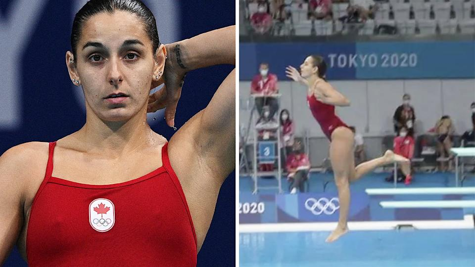 Canadian diver Pamela Ware pin-dropped into the pool after a miscue in her dive for the 3m springboard semi final.