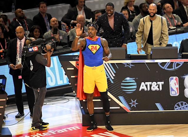 Dwight Howard in his Kobe-infused Superman outfit. (Stacy Revere/Getty Images)