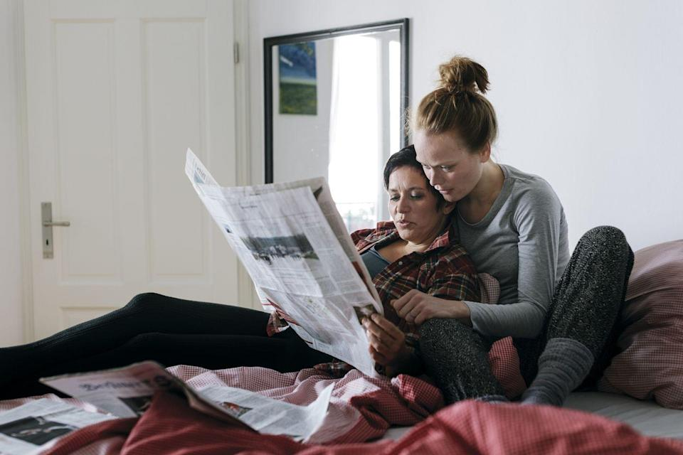 <p>Spend one of those cool fall mornings lazing in bed together — no devices allowed. Brew some coffee, grab the paper, a good book, or a couple of magazines and take turns reading your favorite passages or headlines aloud. </p>