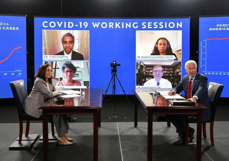 Democratic US presidential hopeful Joe Biden and his running mate Kamala Harris received a virtual briefing on COVID-19 from health experts