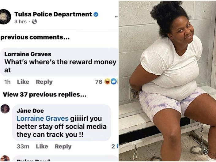 Lorraine Graves' comments on the Tulsa Police Department Facebook page next to a photo of Graves handcuffed