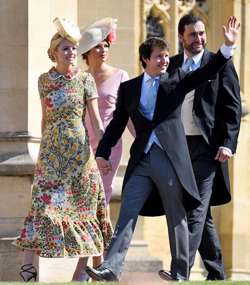 Singer/songwriter and friend of Prince Harry's, James Blunt, waved to the crowds as he made his way into the event with his wife,Sofia Wellesley.
