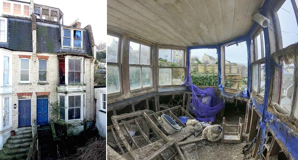 The inside of the property in Devon is covered in pigeon poo (Pictures: SWNS)