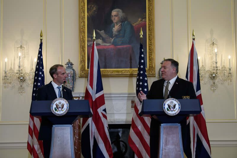 U.S. Secretary of State Mike Pompeo meets with British Foreign Secretary Dominic Raab, in Washington