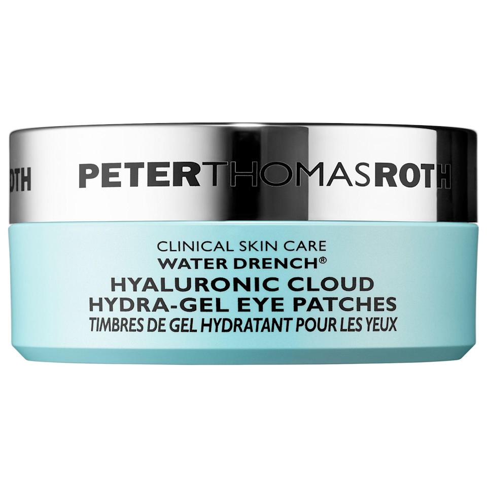 """<p><strong>Peter Thomas Roth</strong></p><p>sephora.com</p><p><strong>$55.00</strong></p><p><a href=""""https://go.redirectingat.com?id=74968X1596630&url=https%3A%2F%2Fwww.sephora.com%2Fproduct%2Fwater-drench-hyaluronic-cloud-hydra-gel-eye-patches-P423254&sref=https%3A%2F%2Fwww.goodhousekeeping.com%2Fbeauty%2Fanti-aging%2Fg32633457%2Fbest-undereye-patches%2F"""" rel=""""nofollow noopener"""" target=""""_blank"""" data-ylk=""""slk:Shop Now"""" class=""""link rapid-noclick-resp"""">Shop Now</a></p><p>Think of these as a drink of water <em>and</em> a cup of coffee for your under eyes. The Water Drench line is <strong>packed with <a href=""""http://www.goodhousekeeping.com/beauty/anti-aging/a32106722/what-is-hyaluronic-acid-benefits/"""" rel=""""nofollow noopener"""" target=""""_blank"""" data-ylk=""""slk:hyaluronic acid"""" class=""""link rapid-noclick-resp"""">hyaluronic acid</a> that works to bring hydration to skin all day long</strong>, while caffeine brightens eyes instantly. These patches are also formulated with skin-soothing ceramides and collagen to soften skin and smooth lines.</p>"""