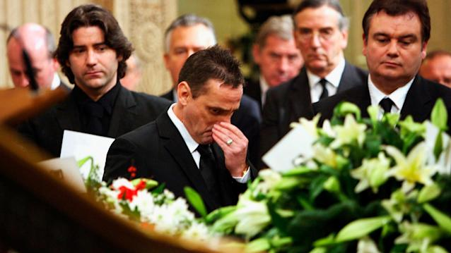 Eamonn Holmes attends the funeral of former Manchester United player George Best in 2005