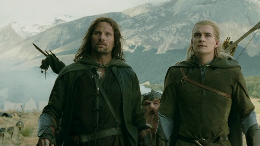 Viggo Mortensen as Aragorn and Orlando Bloom as Legolas in The Lord of the Rings: The Two Towers.