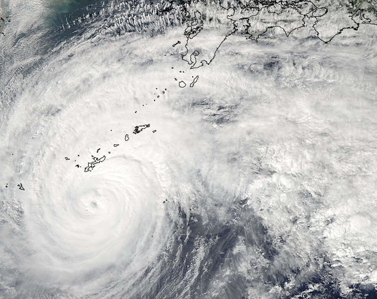 A Moderate Resolution Imaging Spectroradiometer (MODIS) image from NASA's Aqua satellite shows Typhoon Vongfong in the Pacific Ocean, approaching Japan's main islands on its northward journey October 11, 2014.  Picture taken October 11, 2014. REUTERS/NASA/Handout via Reuters (PACIFIC OCEAN - Tags: ENVIRONMENT DISASTER) ATTENTION EDITORS - THIS PICTURE WAS PROVIDED BY A THIRD PARTY. REUTERS IS UNABLE TO INDEPENDENTLY VERIFY THE AUTHENTICITY, CONTENT, LOCATION OR DATE OF THIS IMAGE. FOR EDITORIAL USE ONLY. NOT FOR SALE FOR MARKETING OR ADVERTISING CAMPAIGNS. THIS PICTURE WAS PROCESSED BY REUTERS TO ENHANCE QUALITY. AN UNPROCESSED VERSION WAS PROVIDED SEPARATELY