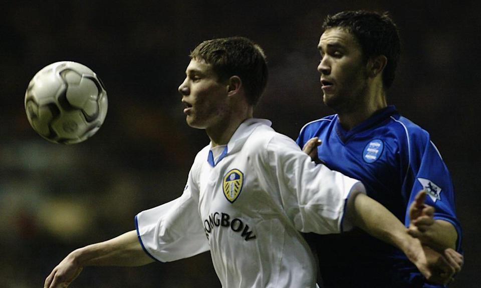 16-year-old James Milner holds off Birmingham's Damien Johnson while playing for Leeds in 2003.