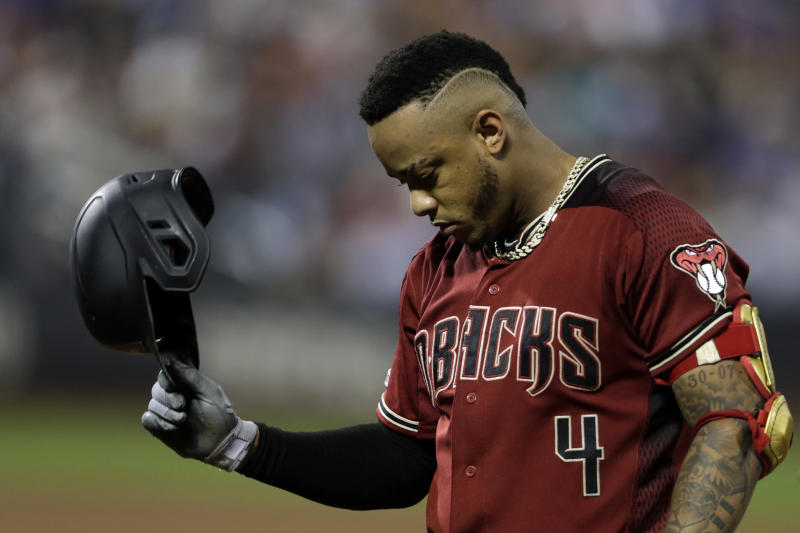 Sep 11, 2019; New York City, NY, USA; Arizona Diamondbacks center fielder Ketel Marte (4) reacts after grounding out against the New York Mets during the fifth inning at Citi Field. Mandatory Credit: Adam Hunger-USA TODAY Sports