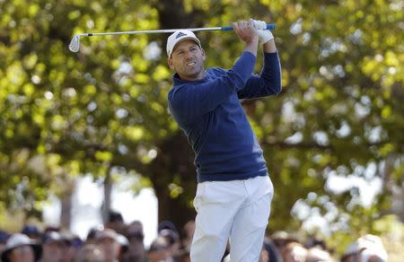 Sergio Garcia of Spain hits off the fourth tee during the 2017 Masters in Augusta
