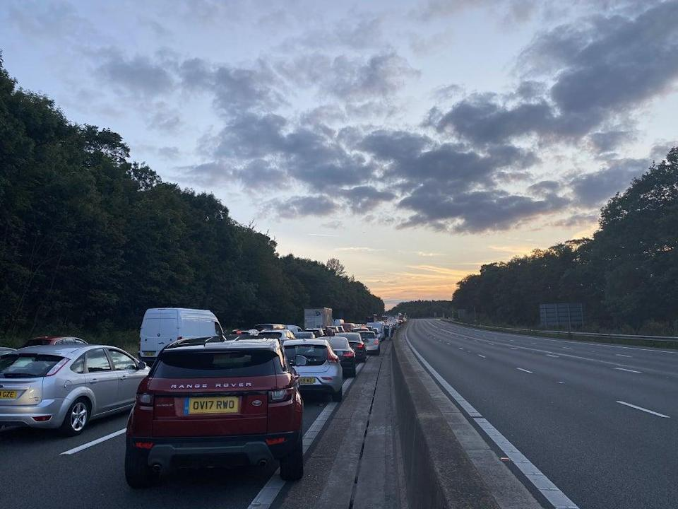 Traffic backed up on the M25 after the collision (Handout photo courtesy of Michael Hill/PA) (PA Media)