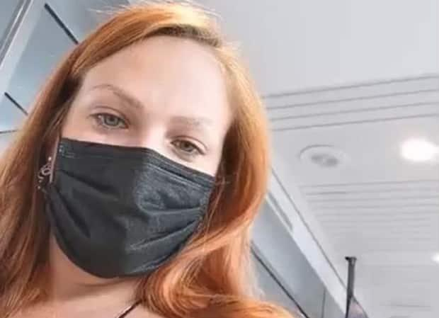 Synthia Vignola flew from Colombia to Montreal on March 21. This is a scene from a video she shot at the Montreal airport where she refused to quarantine in a hotel.