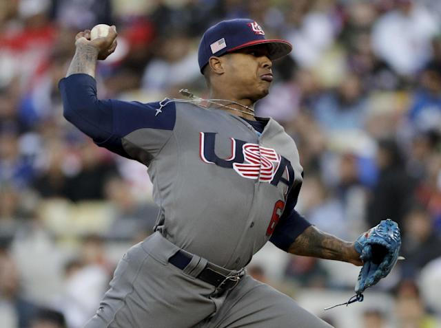 <p>U.S. pitcher Marcus Stroman throws against Puerto Rico during the first inning of the final of the World Baseball Classic, in Los Angeles, Wednesday, March 22, 2017. (AP Photo/Jae C. Hong) </p>