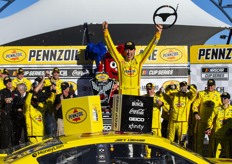 Joey Logano celebrates after winning a NASCAR Cup Series auto race at the Las Vegas Motor Speedway on Sunday, Feb. 23, 2020. (AP Photo/Chase Stevens)