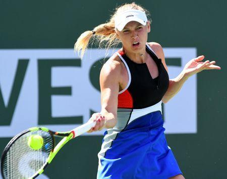 Mar 12, 2018; Indian Wells, CA, USA; Caroline Wozniacki (DEN) during her third round match against Aliaksandra Sasnovich (not pictured) in the BNP Paribas Open at the Indian Wells Tennis Garden. Jayne Kamin-Oncea-USA TODAY Sports