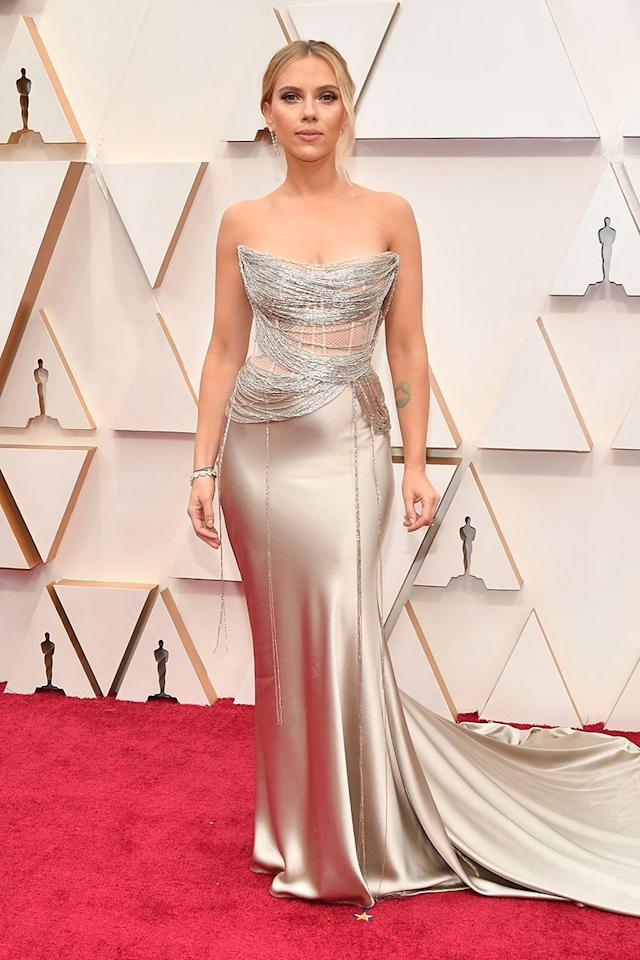 <p>Scarlett Johansson is, honestly, our eternal muse, balancing grace and elegance with straight-up sexiness in this lingerie-corset-turned-slip-dress.</p>