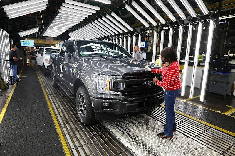 Ford's Dearborn, Michigan plant, shown here in September 2018, produces F-series pickup trucks, which sold well in North America in the first quarter